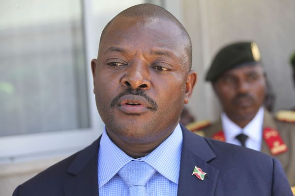 Portrait of Burudian President Pierre Nkurunziza at Mogadish Airport, 22 April,2014