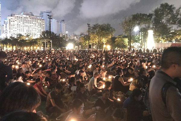 30th Anniversary Memorial of Tinanmen Square Protests. Photographed in Victoria Park, Hong Kong.