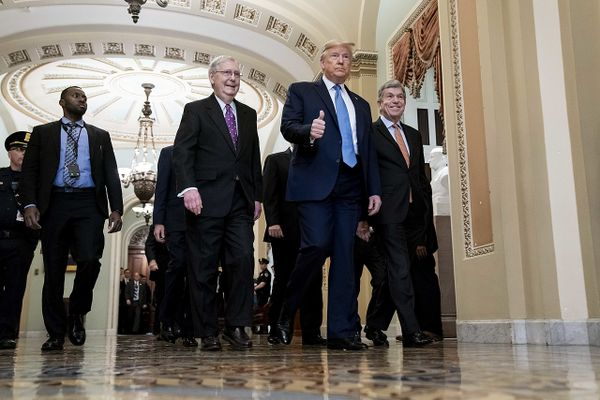 President Donald J. Trump and Vice President Mike Pence walk with Senate Majority Leader Mitch McConnell, R-Ky., and Senator Roy Blunt, R-Mo., Tuesday, March 10, 2020