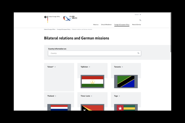 Screenshot of the Federal Foreign Office website