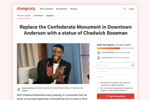 Petition to replace Confederate monument with memorial of Chadwick Boseman in Anderson, SC