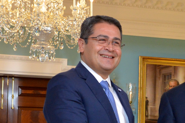 Honduran President Juan Orlando Hernández  at the Department of State, March 21, 2017