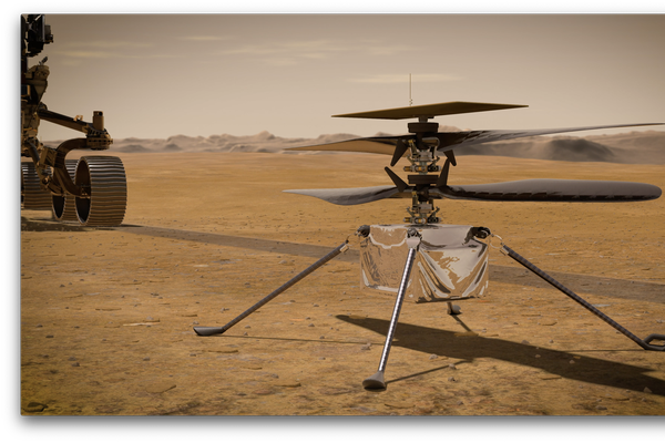 Ingenuity Mars Helicopter on the Martian Surface
