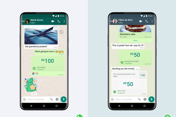Screenshots of WhatsApp Pay in Brazil