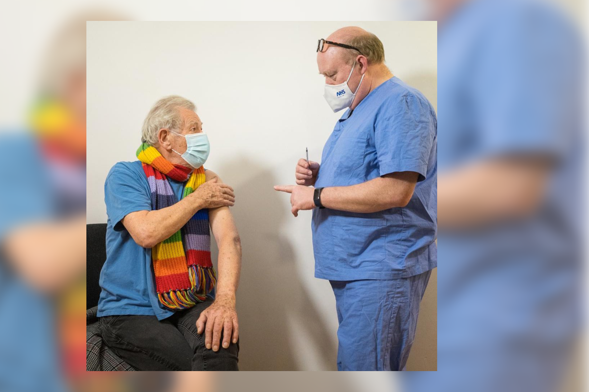 Sir Ian McKellen receives Covid-19 vaccine