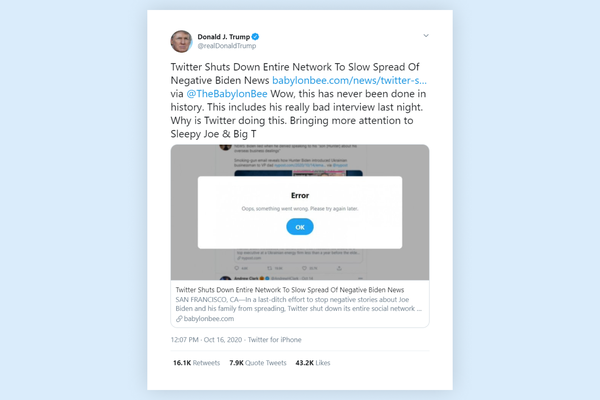 Donald Trump shares article of satire page suggesting that Twitter shut down services to slow down news about Biden