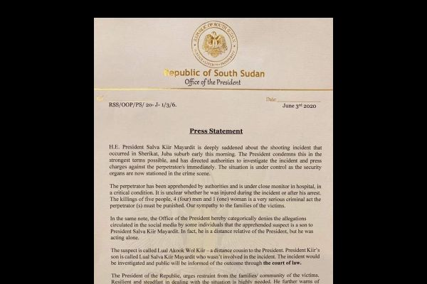 Press Statement of the Office of the President of the Republic of South Sudan