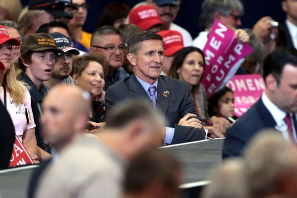 Michael Flynn at a campaign rally for Donald Trump at the Phoenix Convention Center in Phoenix, Arizona.