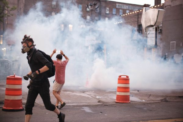 Tear gassing what was a peaceful protest in Minneapolis