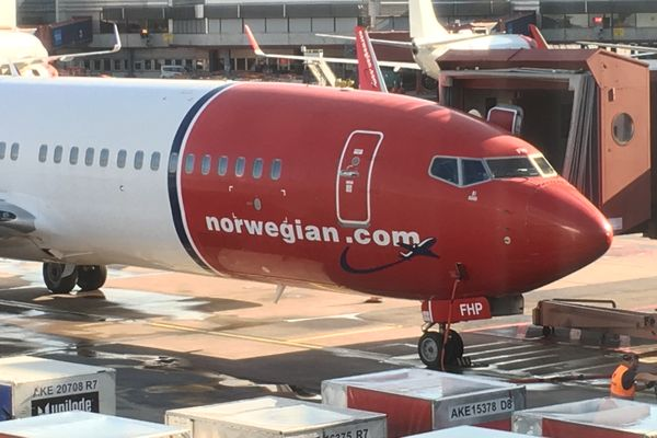 Norwegian Air plane in Stockholm