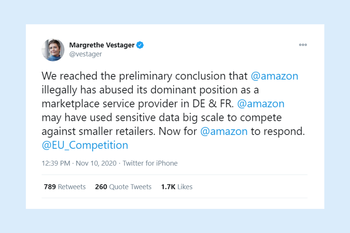 Brussels accuses Amazon of violating antitrust laws by illegally using company data