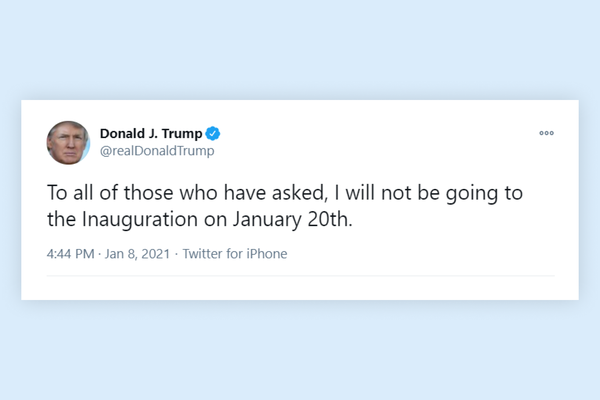 Trump declares he will not be in the inauguration on January 20th