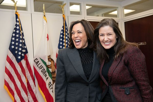 Kamala Harris (l) and Libby Schaaf (r) in 2020