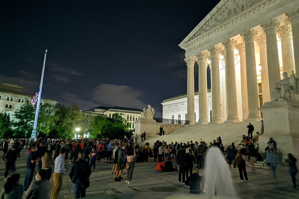 Mourners gather at the U.S. Supreme Court September 18, 2020 after the death of Ruth Bader Ginsburg.