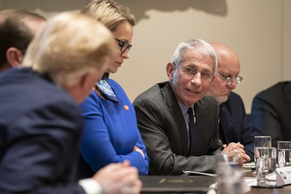Dr Anthony Fauci addresses his remarks during a meeting with fellow members of the Coronavirus Task Force and representatives from pharmaceutical companies Monday March 2, 2020