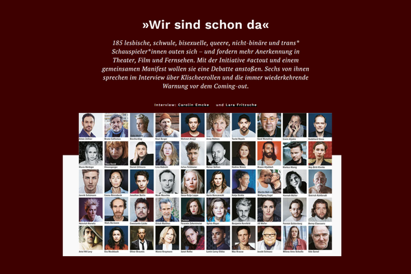 185 LGBTQ actors and actresses come out in german Newspaper