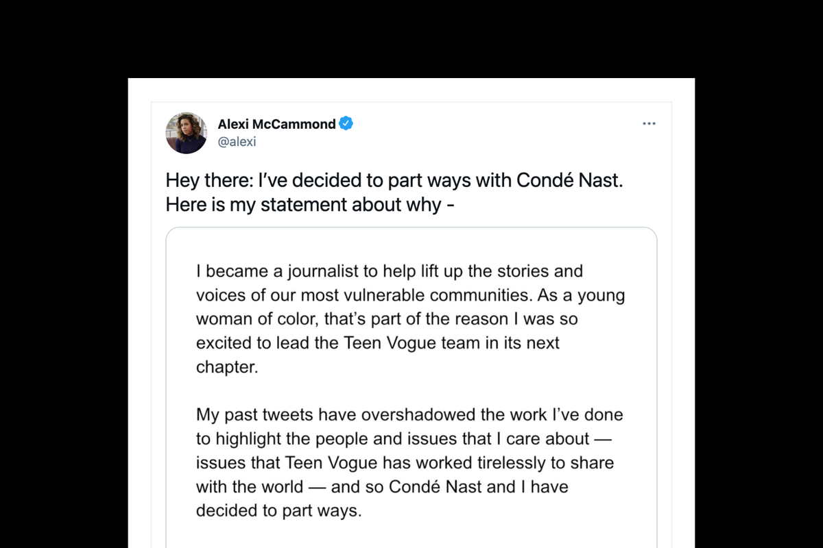 Alexi McCammond resigns as editor of Teen Vogue after racists and homophobic tweet resurface