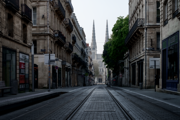 Bordeaux, France during lockdown in March, 2020