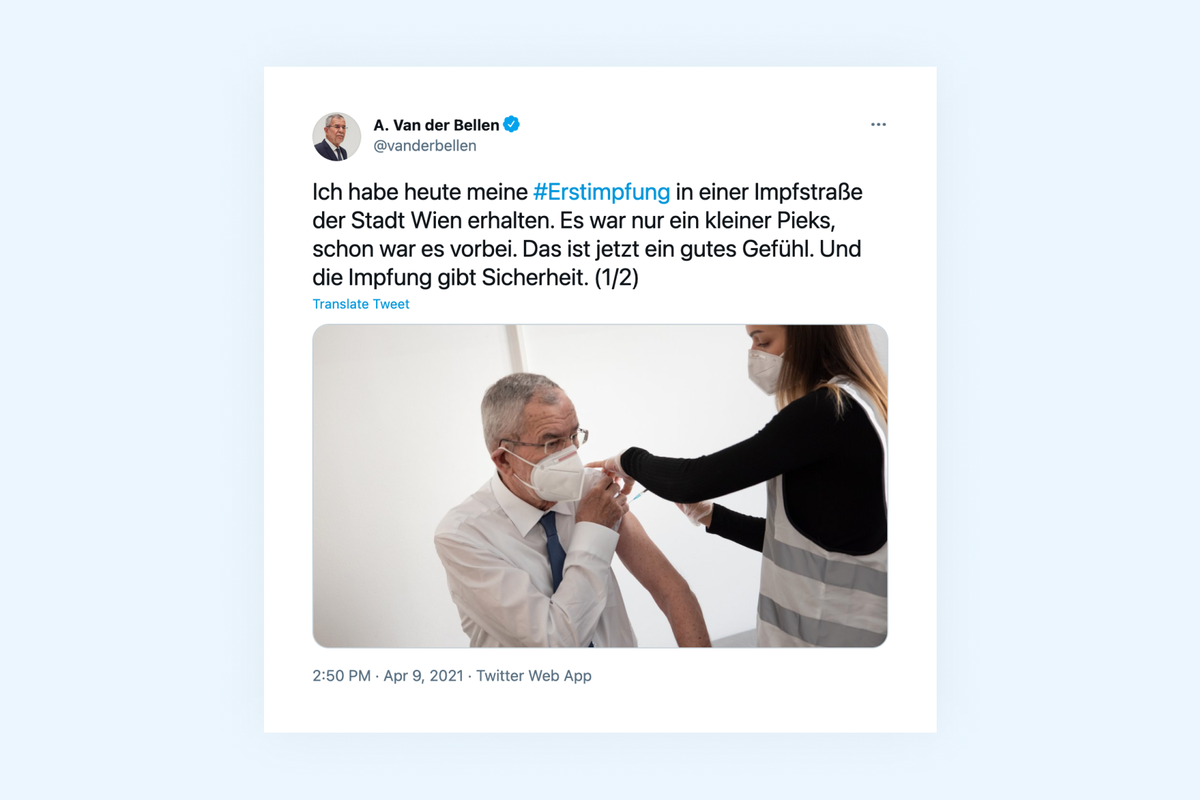 Austrian President Van der Bellen receives first dose of Covid-19 vaccine