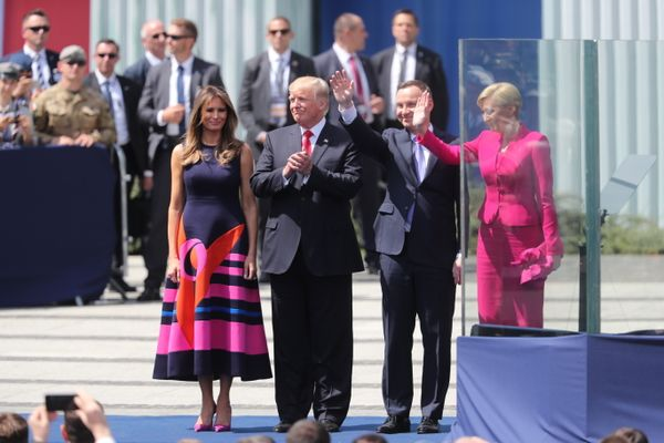 President Donald J. Trump, First Lady Melania Trump, President Andrzej Duda and First Lady Agata Kornhauser-Duda in Warsaw in Poland