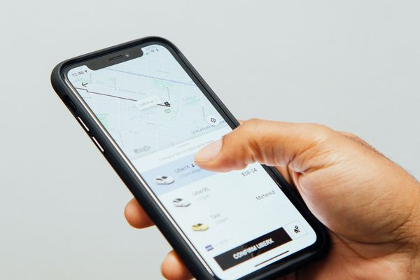 Uber app on a mobile phone