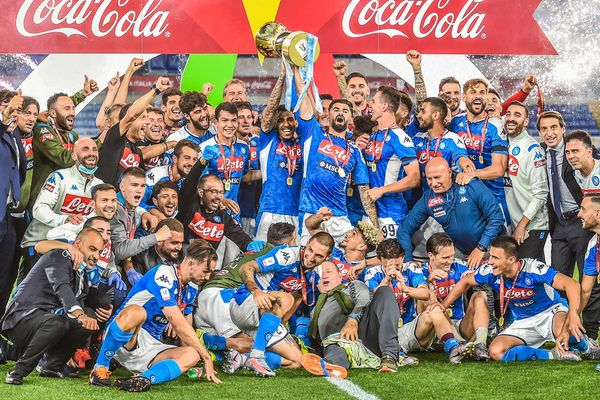 Napoli players celebrates Coppa Italia