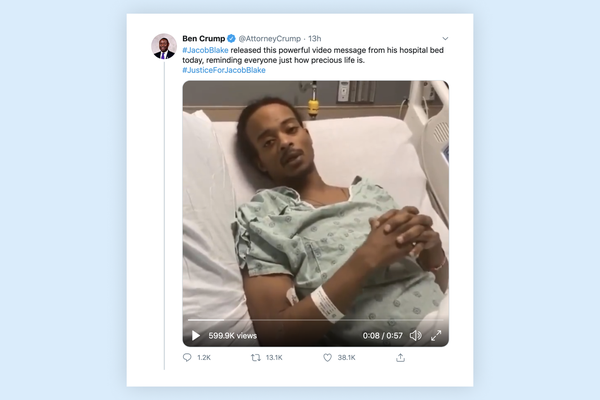 Jacob Blake releases video message from hospital bed