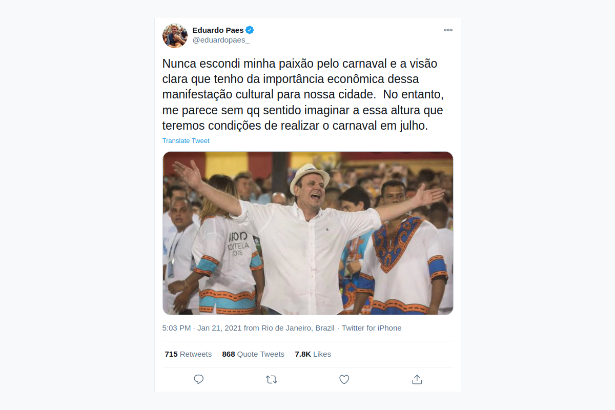 Rio de Janeiro mayor discards Carnival happening in July, after first postponement from February