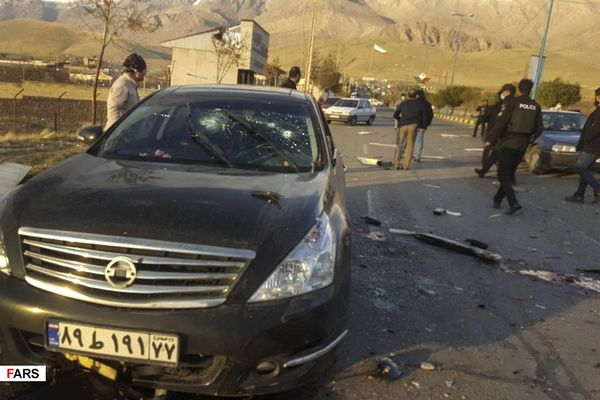 Mohsen Fakhrizadeh's car after the alleged assassination