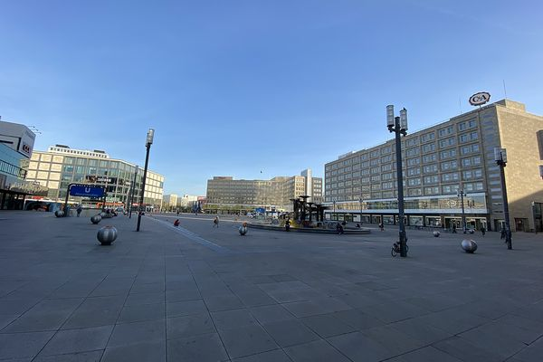Alexanderplatz, Berlin, during the Covid-19 outbreak in April 2020