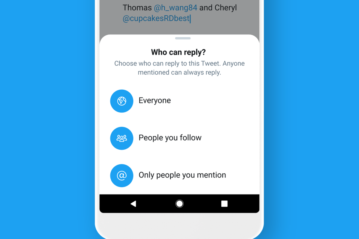 Twitter test lets users control who can reply to their tweets