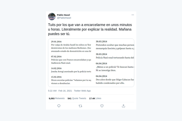 """Tweet by Pablo Hasél listing the messages considered to be """"glorification of terrorism"""""""