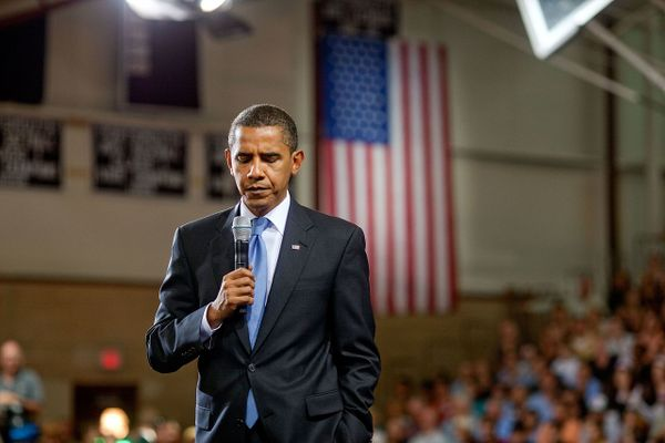 President Barack Obama speaks at Portsmouth High School in Portsmouth, N.H., at a town hall meeting about health care reform on Aug. 11, 2009