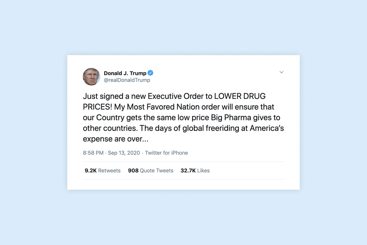 Trump tweets that he has signed an executive order to lower drug prices