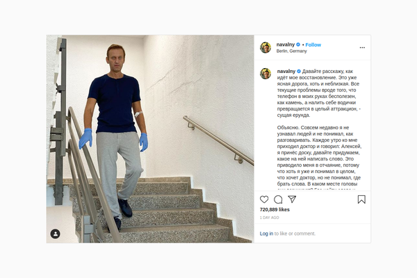 "Alexei Navalny pictured walking down stairs, on a ""clear road"" towards recovering"