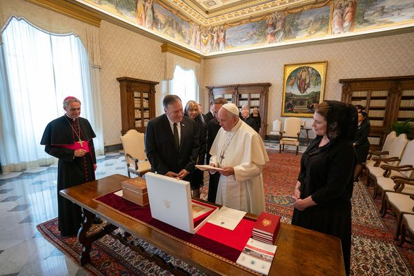 U.S. Secretary of State Michael R. Pompeo meets with His Holiness Pope Francis in Vatican City, on October 3, 2019