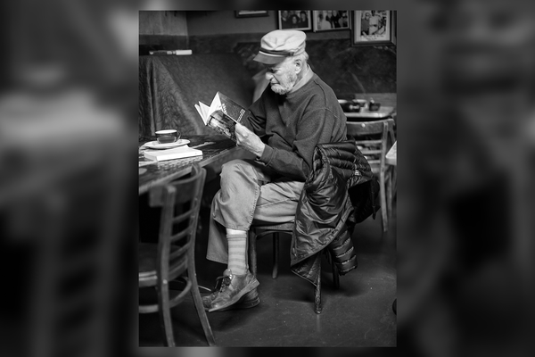 Lawrence Ferlinghetti at Caffe Trieste in 2012 by Christopher Michel