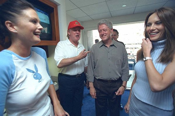Donald Trump at the U.S. Open with Bill Clinton in 2000, Flushing, New York