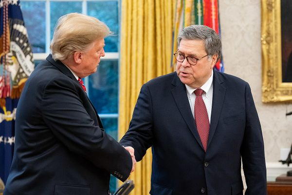 President Donald Trump and Attorney General William Barr