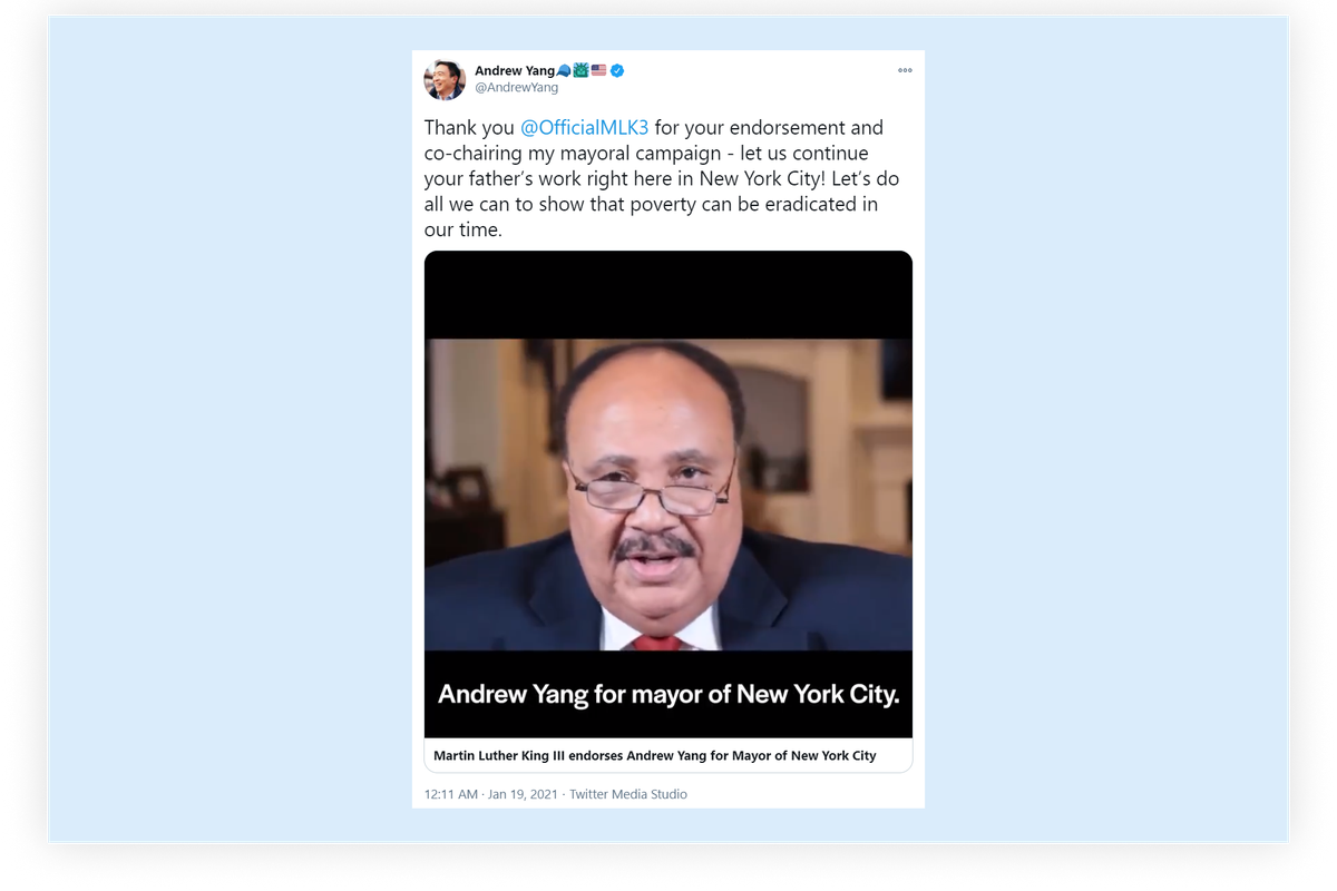 Son of Martin Luther King Jr. endorses New York City mayoral candidate Andrew Yang