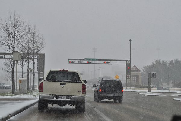 Snow on Mockingbird Lane approaching Central Expressway, Dallas, Texas, U.S.