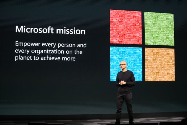Microsoft CEO Satya Nadella speaks onstage at MWC Barcelona