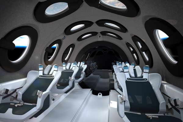 The interior cabin of Virgin Galactic's SpaceShipTwo
