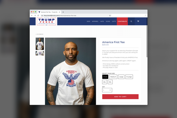 """""""America First Tee"""" sold on Donald Trump's website"""