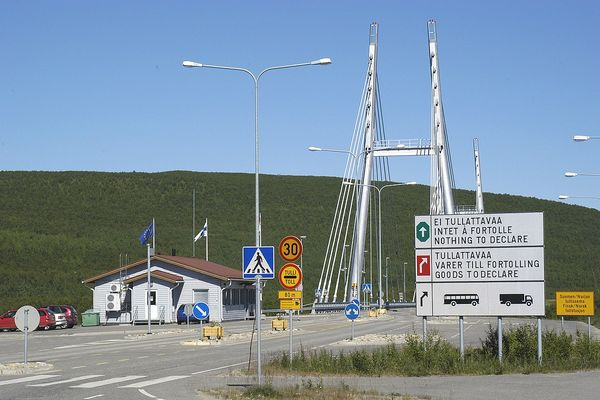 Utsjoki, the national border between Finland and Norway, with Sami Bridge