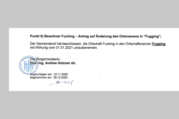 "Austrian town ""Fucking"" to be renamed ""Fugging"""