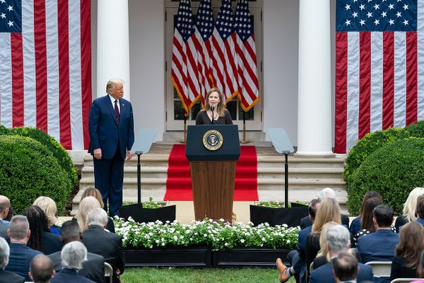 Judge Amy Coney Barrett delivers remarks after President Donald J. Trump announced her as his nominee for Associate Justice of the Supreme Court of the United States Saturday, Sept. 26, 2020