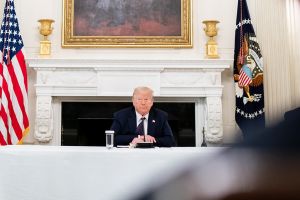 Donald J. Trump during a roundtable discussion in the State Dining Room of the White House, June 8, 2020