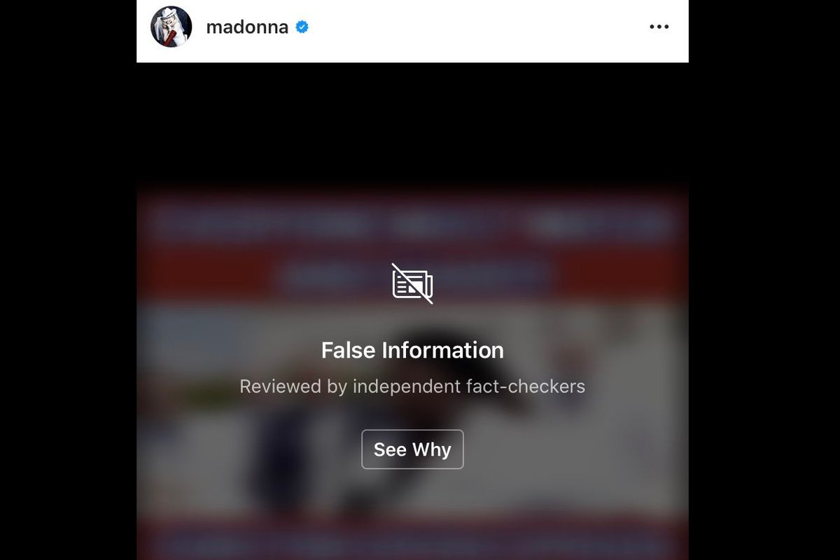 Madonna Instagram's post about hydroxychloroquine flagged for sharing 'False Information'