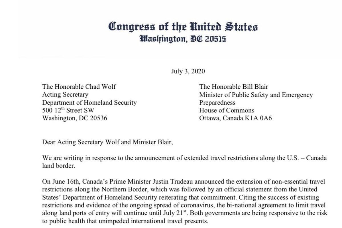 Members of Congress write open letter to Canada calling for re-opening of border